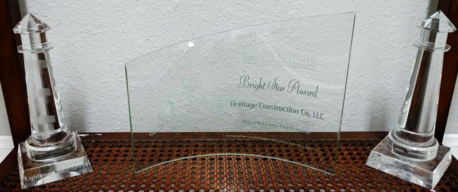 Owens Corning Bright Star Award - Heritage Construction Co.